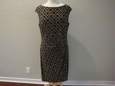 NWT $134 Ralph Lauren Black Gold Chain Side Draped Dress Sz 14
