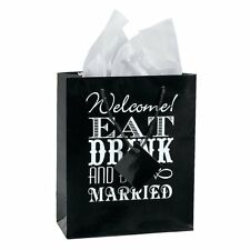 Eat Drink and Be Married Wedding Gift Bags, Medium Welcome Favor Bag Reception
