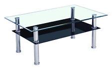 Andanta - Tavolino da soggiorno in vetro temperato, nero, ca. 100x43x60 cm