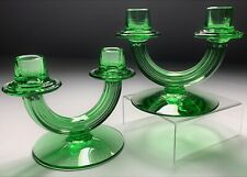 Vintage 1931 Fostoria Glass Duo 2447 Green Glass Candlesticks Candle Holders