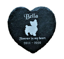 Personalised Slate Heart Pet Memorial Grave Marker Plaque Yorkshire Terrier Dog