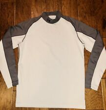 Under Armour Mens Cold Gear Mock Neck Fitted White And Gray Long Sleeve Shirt L