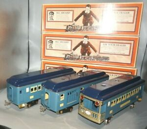 LIONEL STAND. GAU 11-40035abc No.309/310/312 BLUE/DARK BLUE/CREAM PASSENGER CARS
