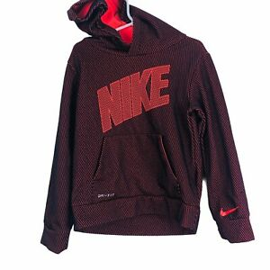 Nike Boys Girls Hoodie Pullover Dri-Fit Size Small (5) Orange/Red New