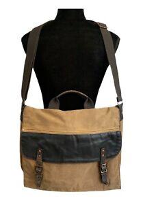Black Rivet Messenger Bag Duck Canvas Leather Laptop Bag Black Rivet Satchel Bag