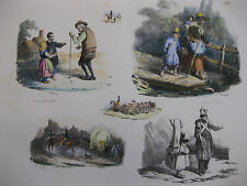 Lithographie ancienne originale H Bellangé costumes romantisme soldats paysans