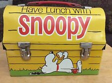 "Vintage1968 ""Have Lunch with Snoopy"" Peanuts Metal Lunch Box W/ Thermos"
