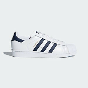Adidas Superstar Sneakers White Blue Navy Sizes 7.5 - 9 Unisex 3 Stripes CM8082