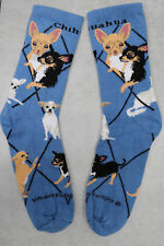 1 Pair Chihuahua Socks Blue Medium Adult Ladies Womens Blue