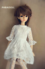 Pretty  White Lace Dress For BJD Doll 1/6 1/4 MSD,1/3 SD16 DD Doll Clothes CWB96