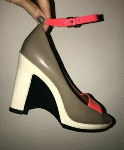 MARC JACOBS 7.5 8.5 Patent Leather Colorblock Wedge Ankle Strap Sandals $445
