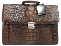100% BIG HORNBACK GENUINE CROCODILE LEATHER BRIEFCASE BAG EXTRA LARGE DARK BROWN