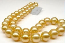 12mm Natural South Sea Gold shell Pearl Necklace  18""
