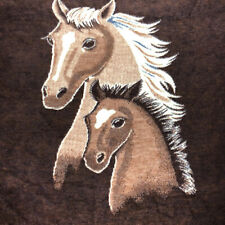 Biederlack Blanket Throw Horse Pony Equestrian Brown Vintage 69x57 inches