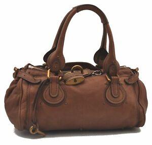 Authentic Chloe Paddington Leather Hand Bag Brown C3980