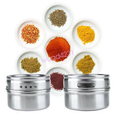 1 x Stainless Steel Magnetic Spice Storage Jar Tins Container With Rack Holder