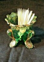 US Glass Co. Honeycomb with Flower Rim Toothpick Holder. Gold Trim c. 1899