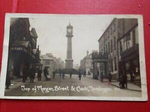 Vintage RP Postcard Top Of Morgan Street & Clock Tredegar