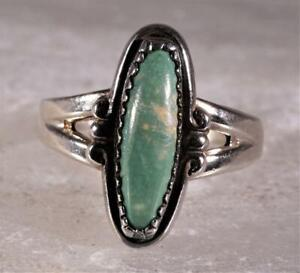 Sterling Silver Green Turquoise Ring Artist Signed Size 6