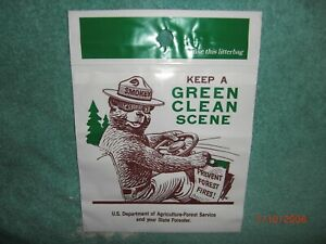 Vintage Chevrolet GM VW Split Window GM Smokey The Bear Plastic Litter Bag NOS