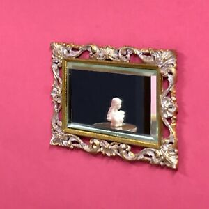 1:16 Dollhouse real beveled glass wall mirror on a classic gold & pink frame
