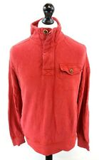 FAT FACE Mens Jumper Sweater S Small Red Cotton 1/4 Button