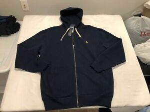 NWT $125.00 Polo Ralph Lauren Mens Cotton Full Zip Hoodie Navy B&T LARGE TALL LT