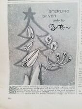 1958 Sateur sterling silver jewelry earrings pin vintage ad