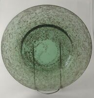 "Set of 4 Hand Blown Green Glass Dinner Plates 10 1/2"" Diameter HEAVY"