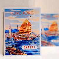 "#3567 Hong Kong Qantas Airline Vintage Retro Luggage Label 3x4"" Decal STICKER"