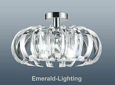Elsa chiaro cristallo prisma Chrome flushfitting soffitto luce ad anello ciondolo 44cm