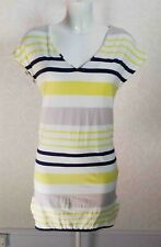 NEXT yellow white grey striped Stretch jersey short sleeve V neck long tunic 8