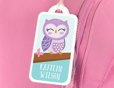 Bright Star Kids Personalised Name Tag for Luggage or School Book Bag - Cute Owl