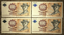 More details for denmark: 4 x 100 kroner banknote in aunc condition and consecutive order. dkk