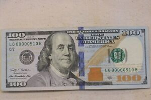 $100 One Hundred Dollar Bill Series 2009 Low Serial Number LG 00000510B