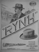 PUBLICITÉ 1925 CAPPELLIFICIO MODERNO UN CHAPEAU FEUTRE - RYN'H - ADVERTISING