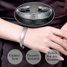 925 Sterling Silver Plated Elegant Multiple Lines Sparkle Bangle Cuff Bracelet