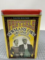 Paul Newman's & Daughter's Own Organics Pretzels empty TIN Can container