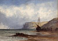 BOATS OFF ENGLISH COASTLINE Victorian Watercolour Painting c1890 SEASCAPE