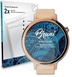 Bruni 2x Screen Protector for Motorola Moto 360 2.Generation 42 mm