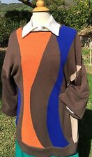 JONES WEAR  XL Brown Orange Blue colorblock stripe boat neck tunic sweater NWT
