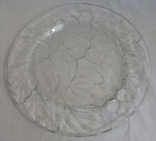 """KIG Indonesia,Clear Glass PLATTER 13"""" Charger Tray, Embossed Grape+Leaf Clusters"""