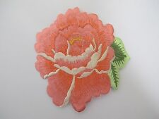 #5089O Orange Rose Herbaceous Peony Flower Embroidery Iron On Applique Patch