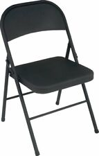Portable Steel Folding Chair with Contoured Seat - Black