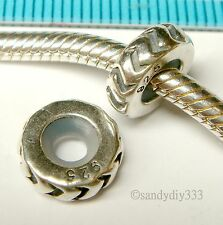 1x OXIDIZED STERLING SILVER RUBBER STOPPER EUROPEAN CHARM BEAD SPACER #1097