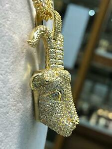 CZ GOAT HEAD 925 Silver GOLD PLATED ICE Men Icy Shine Shiny PENDANT Bling NEW