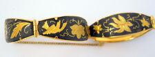 Vtg Damascene Bracelet 5 Hinged Pieces Birds Flowers Black Gold Enamel Safety