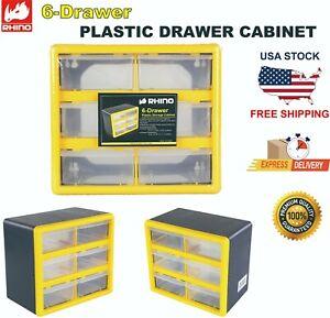 RHINO 6 Drawer Plastic Parts Storage Hardware and Craft Cabinet, Yellow  1 PACK
