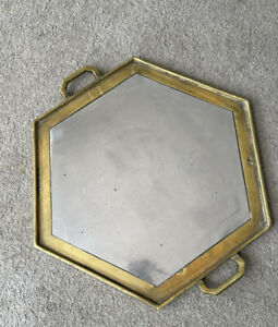 Vintage Octagonal Brass Tray with Wooden handles  Very Heavy Suede Backing 17x15