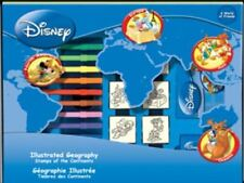 Disney Geography Continent Map Big Playset Stamps Pens Note Book Inc Pad Ruler